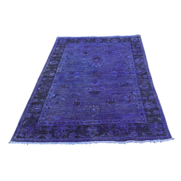 One-of-a-Kind Melodi Cast Overdyed Hand-Knotted Blue Area Rug by Bungalow Rose