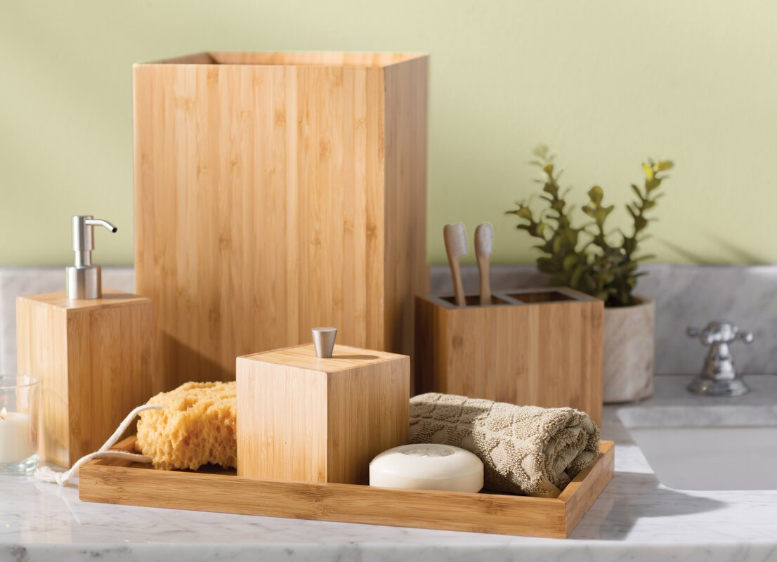 Defoe bamboo 5 piece bathroom accessory set reviews for All bathroom accessories