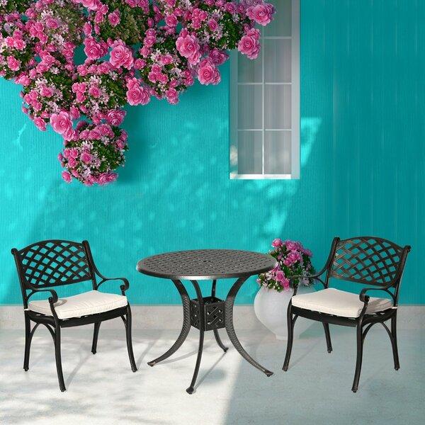 Vestavia 3 Piece Dining Set with Cushions by Fleur De Lis Living