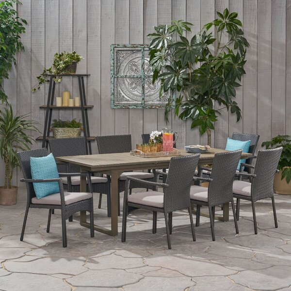 Chul Outdoor 9 Piece Dining Set with Cushions