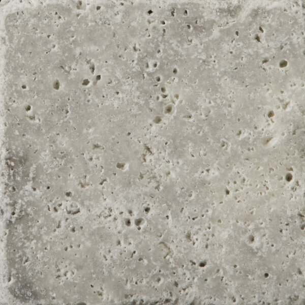 Travertine 4 x 4 Tile in Ancient Tumbled Silver by Emser Tile