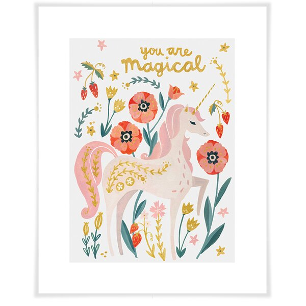 Arnold Magical Unicorn Paper Print by Harriet Bee
