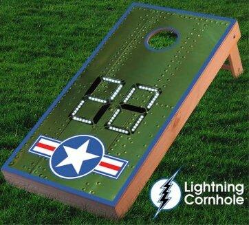 Electronic Scoring Air Force Star Cornhole Board by Lightning Cornhole