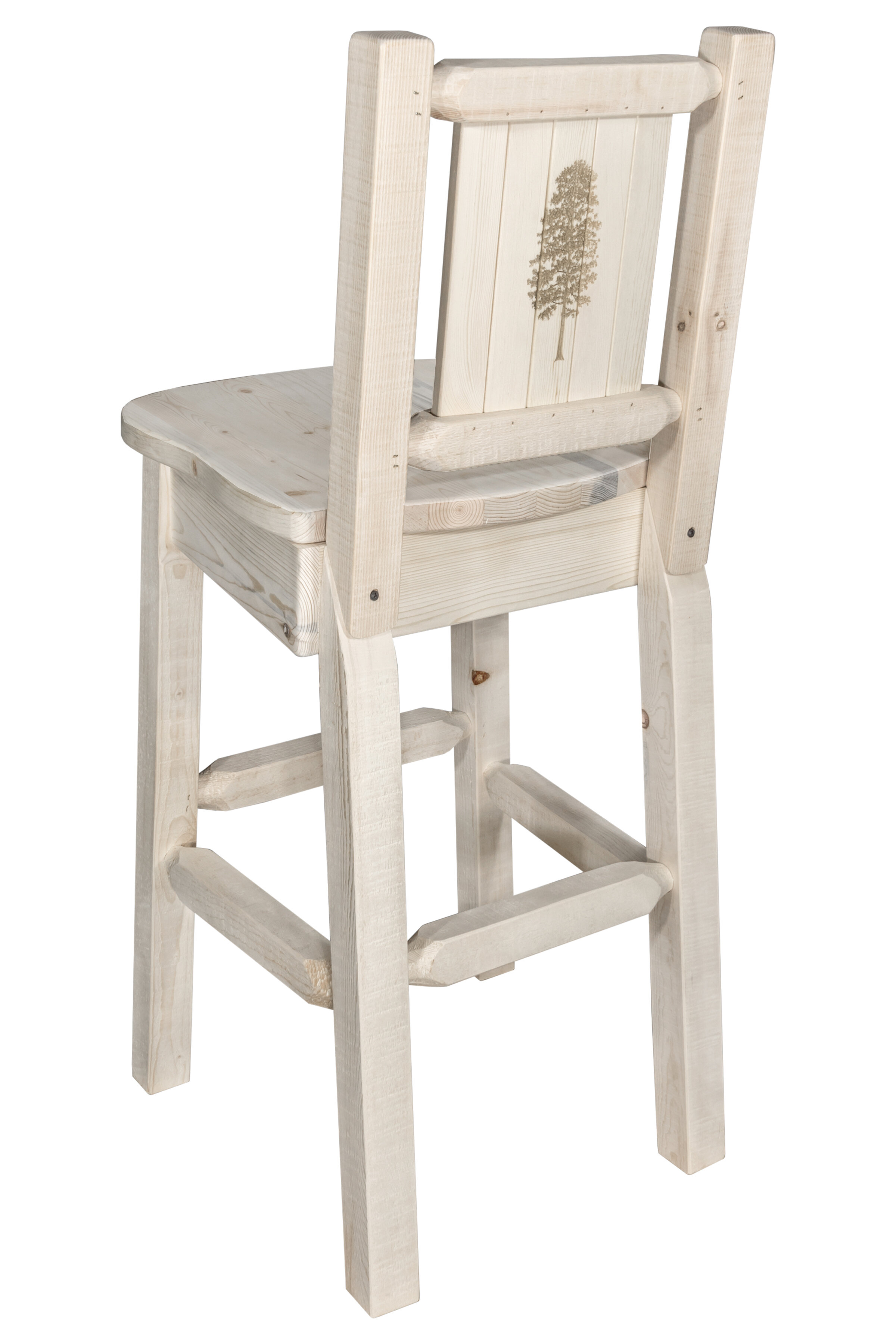 Mistana Haleigh 30 Barstool With Back And Laser Engraved Pine Tree