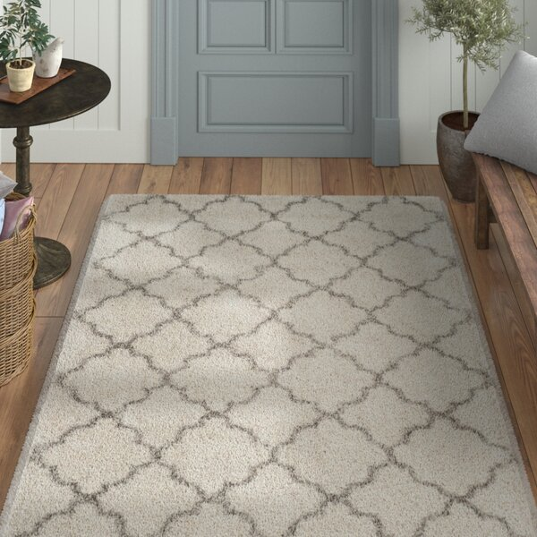 Samira Shag Power Loom Ivory/Gray Area Rug by Laurel Foundry Modern Farmhouse