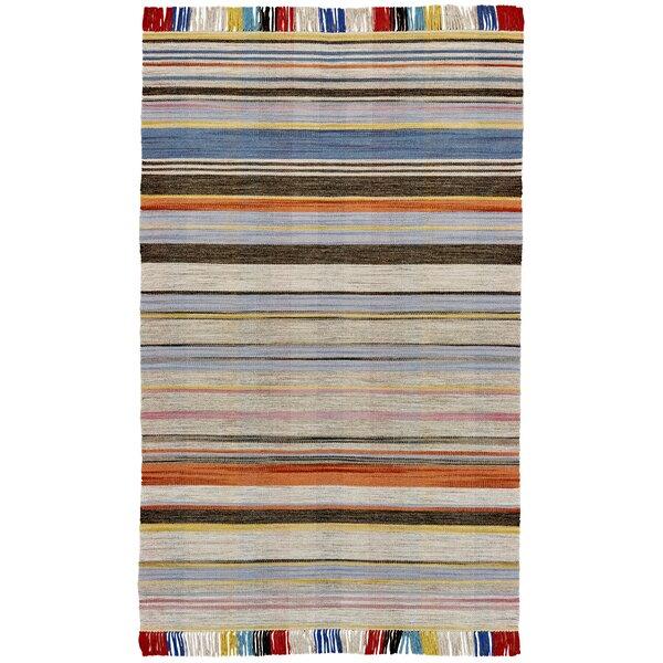 Reichel Flat Woven Wool Gray/Light Blue Area Rug by Bloomsbury Market