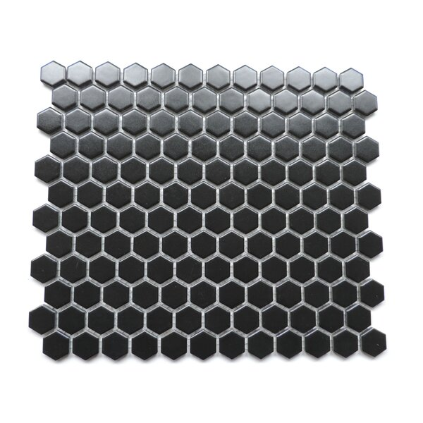 Barcelona 1 x 1 Porcelain Mosaic Tile in Matte Black by The Mosaic Factory