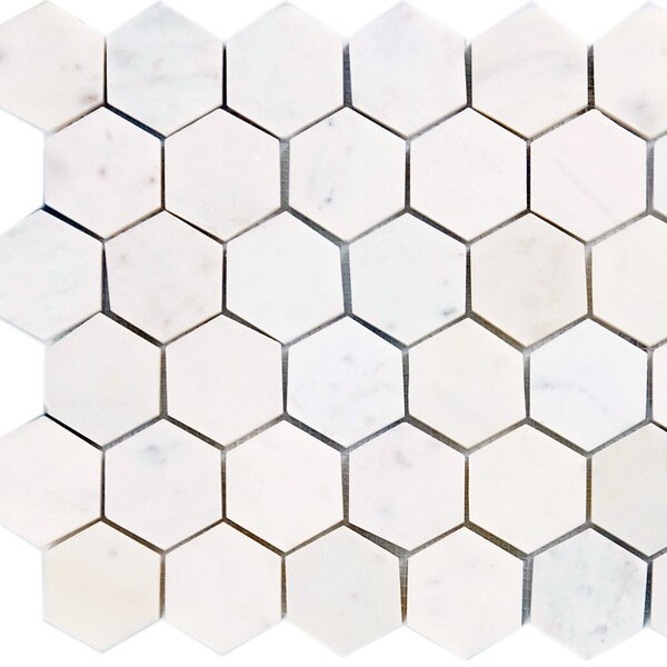 2 x 2 Marble Mosaic Tile in Polished White by Epoch Architectural Surfaces