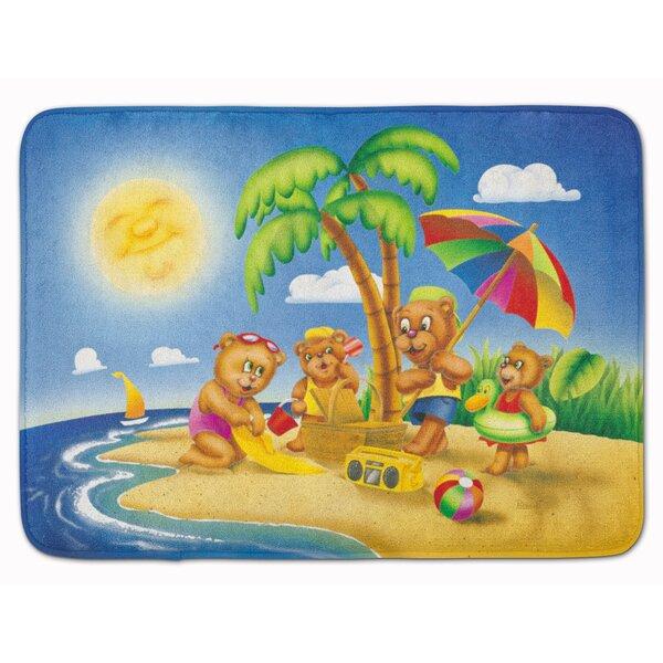 Bear Playing at the Beach Rectangle Microfiber Non-Slip Animal Print Bath Rug