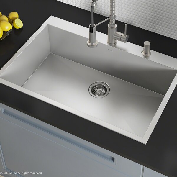 Pax™ Zero-Radius Topmount Series 33 x 22 Drop-In Kitchen Sink by Kraus