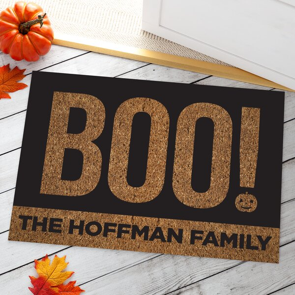 Aditya Boo Personalized Halloween Doormat by The Holiday Aisle