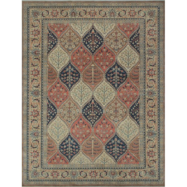 Longoria Oriental Chobi Knotted Wool Brown Area Rug by Canora Grey