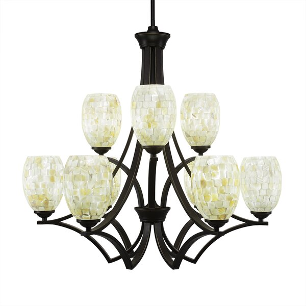 Cambridge 9 - Light Shaded Tiered Chandelier by World Menagerie World Menagerie