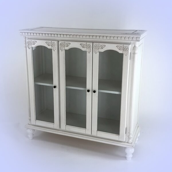 Georgetta Carved Glass 3 Door Accent cabinet by Charlton Home Charlton Home
