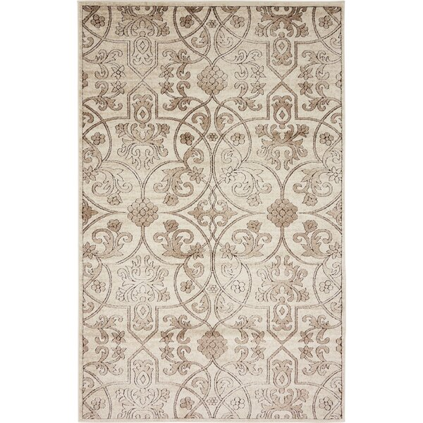 Mathieu Dark Beige/Brown Area Rug by Lark Manor