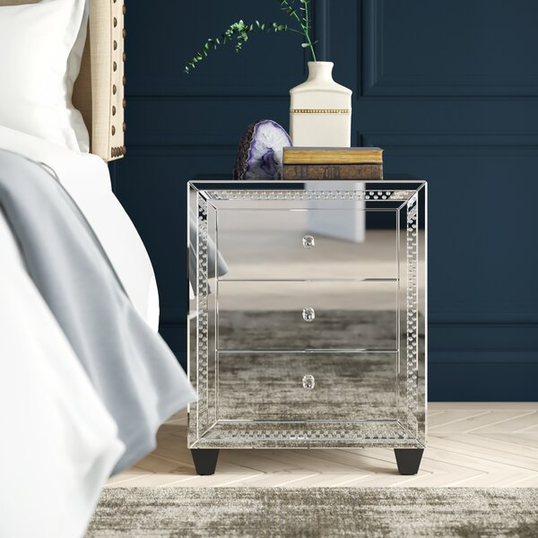 Laster Crystal 3 Drawer Nightstand By Rosdorf Park by Rosdorf Park Best Choices