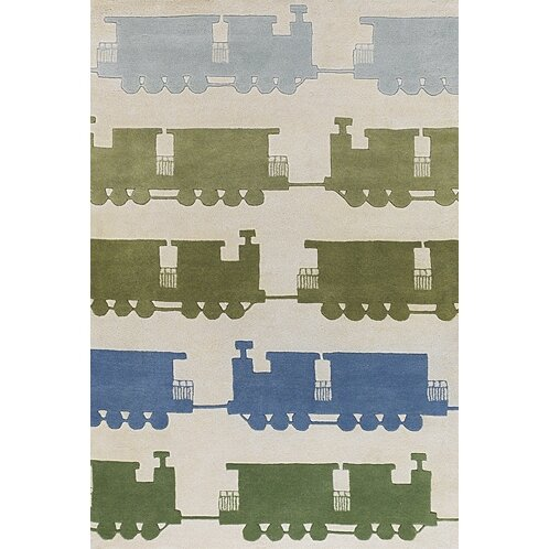 Caddy Green & Beige Train Area Rug by Viv + Rae