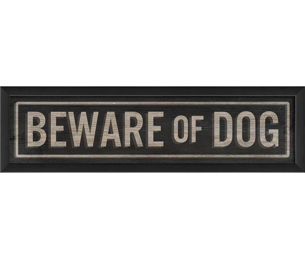 Beware of Dog Sign Framed Textual Art by The Artwork Factory