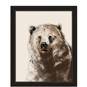 Painted Brown Bear Framed Graphic Art by Click Wall Art
