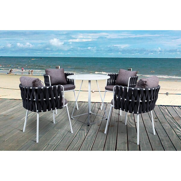 Torney Rope Outdoor 5 Piece Dining Set with Cushions by Rosecliff Heights