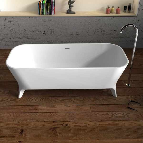 Palermo Solid Surface 70.75 x 31.5 Freestanding Soaking Bathtub by Cheviot Products