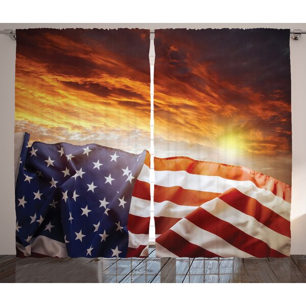 Striped and Star Decor Graphic Print Room Darkening Rod Pocket Curtain Panels (Set of 2) by East Urban Home