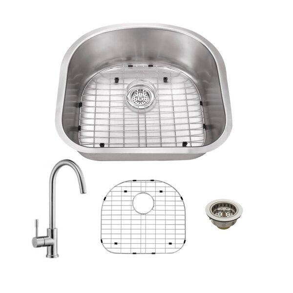 23 L x 21 W Undermount Kitchen Sink with Faucet by Cahaba