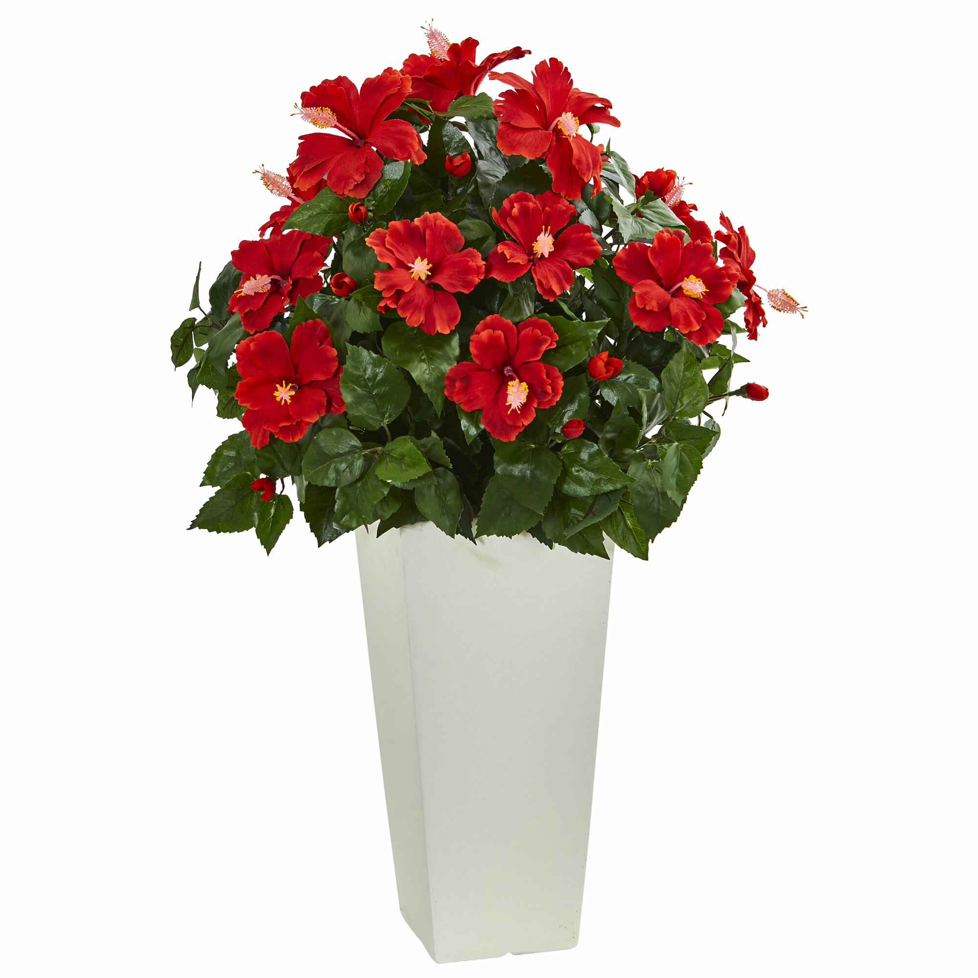 Bayou Breeze Artificial Hibiscus Floral Arrangement In Tower Planter