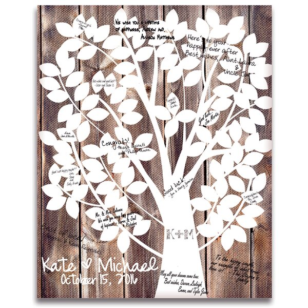 Our Family Tree Gallery Wrapped Canvas Guest Book by Cathys Concepts