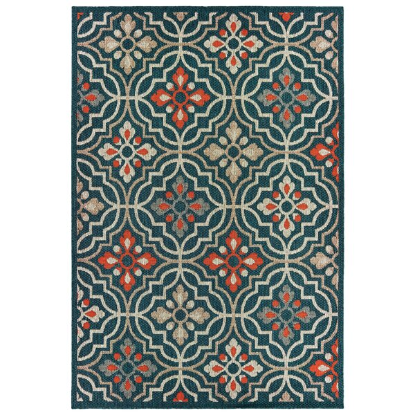 Berryville Medallion Lattice Navy Blue/Orange Indoor/Outdoor Area Rug by World Menagerie
