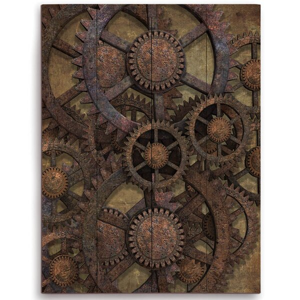 Rusted Tin Gears Graphic Art on Plaque by Click Wall Art