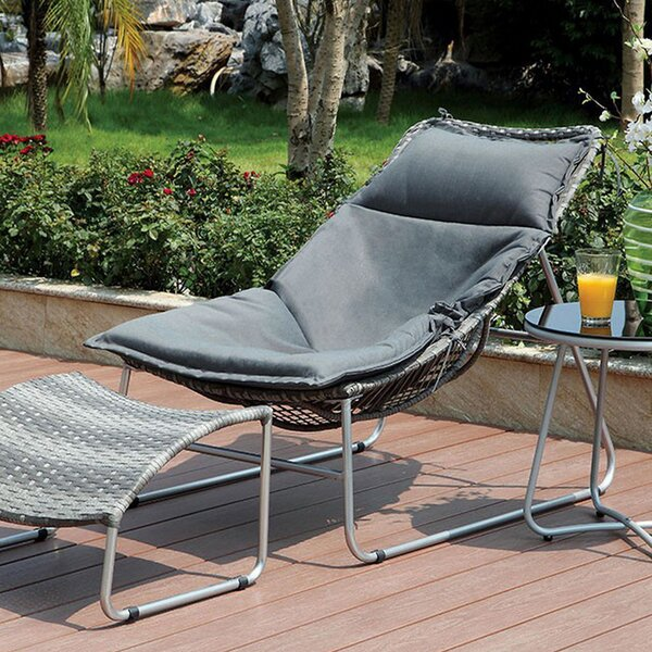 Mancia Patio Chair with Cushion and Ottoman by Ivy Bronx