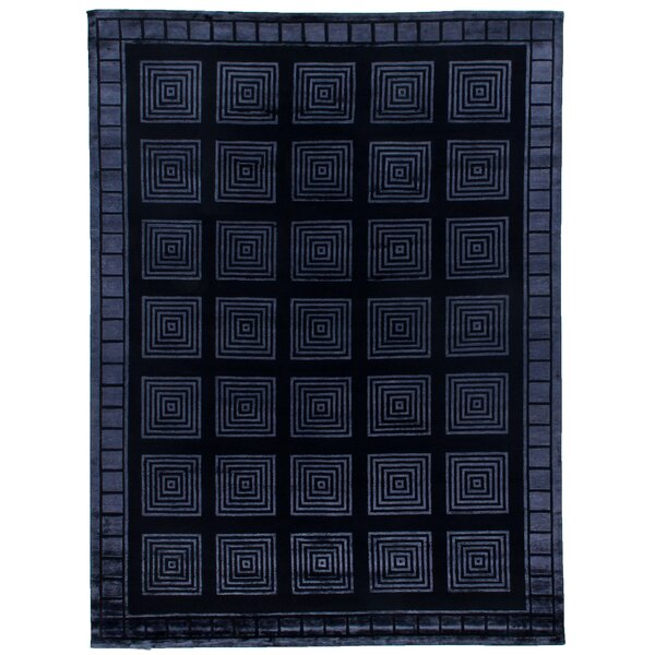 Hand-Knotted Wool/Silk Navy Area Rug by Exquisite Rugs