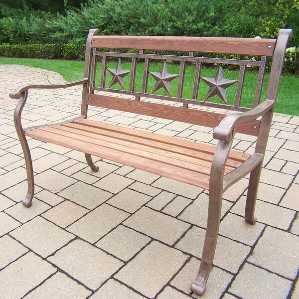 Triple Star Metal and Wood Park Bench by Oakland LivingTriple Star Metal and Wood Park Bench by Oakland Living