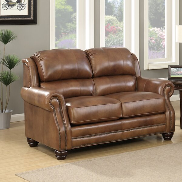 Baryzhikova Wingback Leather Loveseat by Darby Home Co