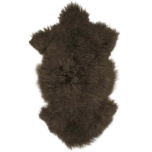 Irving Sheepskin Mongolian Brown Area Rug by Union Rustic