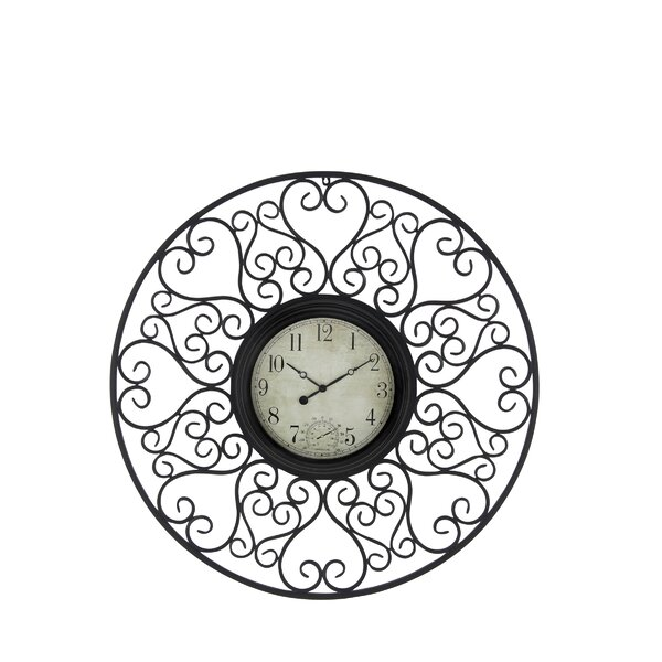 Oversized Cybulski Rustic Metal 33 Wall Clock by Fleur De Lis Living