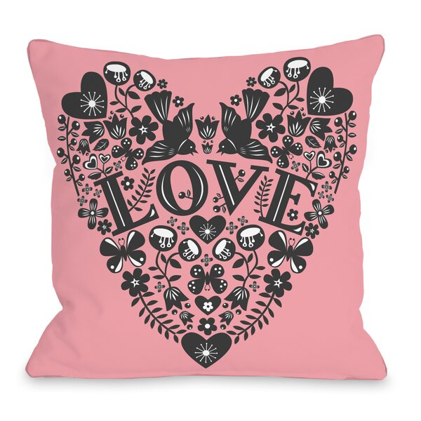 Folk Ephermera Throw Pillow by One Bella Casa
