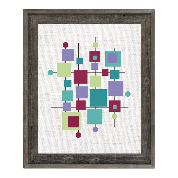 Modern Puzzle Turquoise Framed Graphic Art on Canvas by Click Wall Art