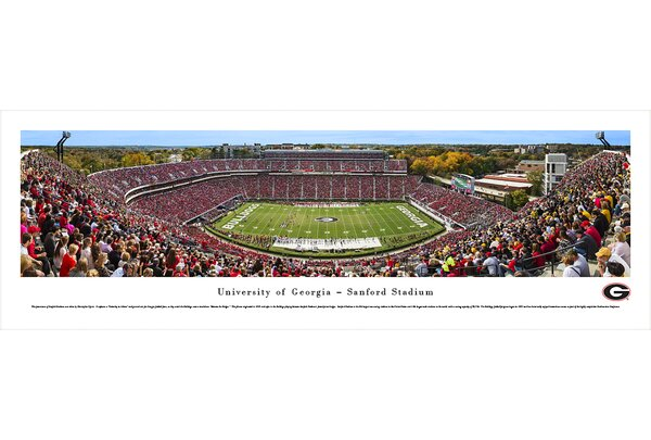 NCAA Georgia, University of - 50 Yard Line - Day by Christopher Gjevre Photographic Print by Blakeway Worldwide Panoramas, Inc