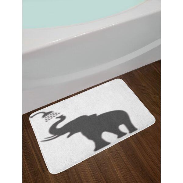 Elephant Taking a Shower Bathing in Bath Tub Shadow Funny Art Print Humor Design Non-Slip Plush Bath Rug by East Urban Home