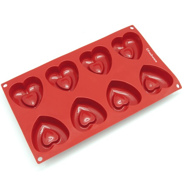 8 Cavity Medium Heart Silicone Mold Pan by Freshware
