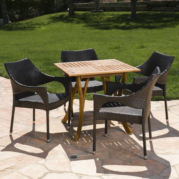 Dunlop Outdoor Acacia Wood/Wicker 5 Piece Dining Set by Wrought Studio