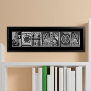 Personalized Gift Architectural Elements II Family Name Framed Photographic Print in Black by JDS Personalized Gifts