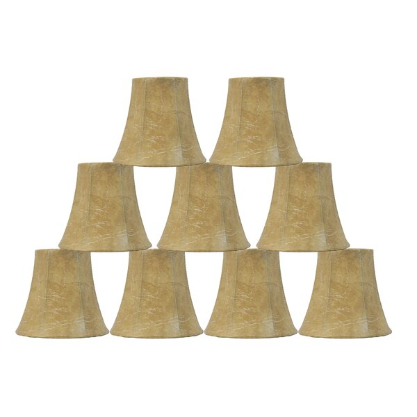 4.5 H Faux leather Bell Candelabra Shade ( Clip On ) in Brown (Set of 9)