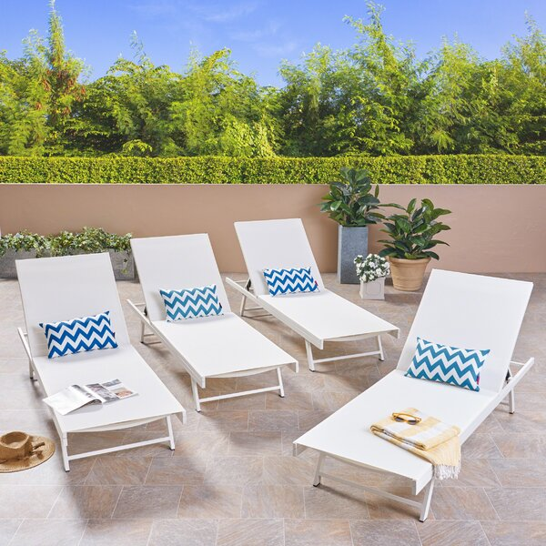 Emrich Outdoor Reclining Chaise Lounge (Set of 4)