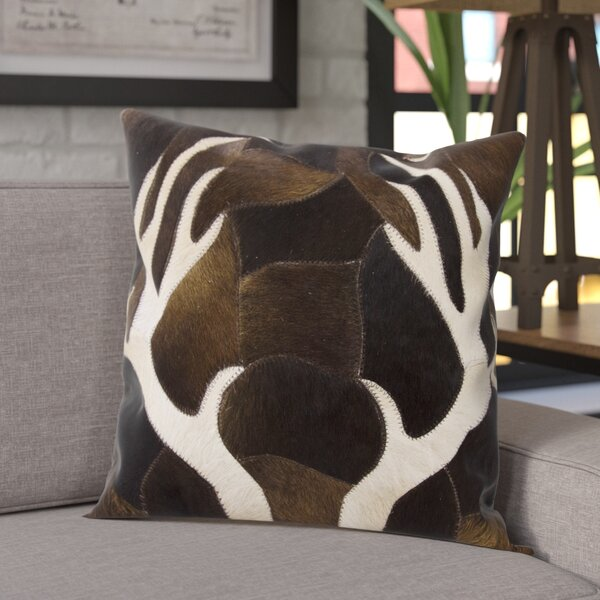 Agate Antler Piecework Hide Throw Pillow by Trent Austin Design