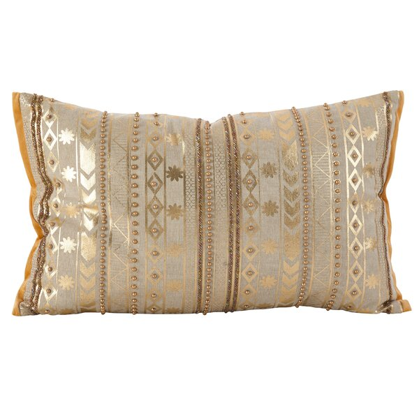 Prescot Beaded Metallic Cotton Throw Pillow by Bungalow Rose
