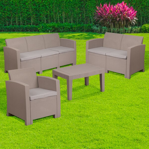 Resnick 4 Piece Sofa Set with Cushions by Wrought Studio