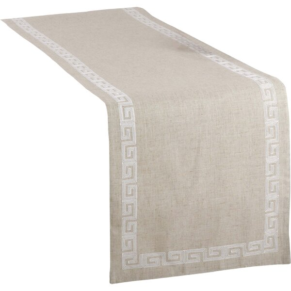 Glenfield Stitched Greek Key Design Table Runner by Beachcrest Home